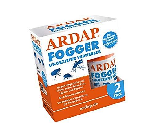 ARDAP Fogger 2 x 100ml - Effektiver Vernebler zur Ungeziefer- & Flohbekämpfung für Haushalt & Tierumgebung - für Räume bis 30m² - Wirksamer Schutz für bis...