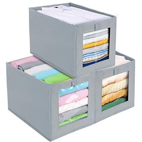 DIMJ 3 Stück Aufbewahrungsboxen, Faltbox mit Transparentem Sichtfenster Faltbare Aufbewahrungskiste mit Schlaufe für Kleiderschrank, Kleidung, Bücher,...