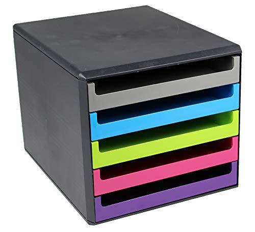 Metzger & Mendle 30057680 Schubladenbox in anthrazit mit 5 farbig sortierten Schüben