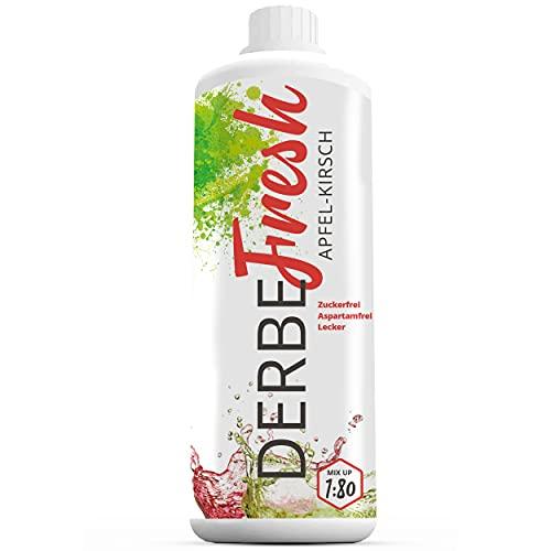 DERBE FRESH Sport Getränkekonzentrat - Apfel-Kirsch Sirup ohne Zucker- 1 L Flasche (Zuckerfreier Getränkesirup, Vital Drink, Sodastream Sirup Mineraldrink...
