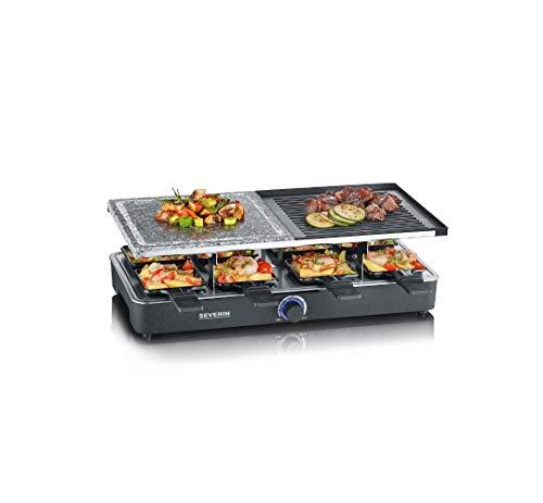 SEVERIN Raclette-Grill mit Naturgrillstein und Grillplatte, Raclette mit antihaftbeschichteter Grillplatte und 8 Pfännchen, Tischgrill für 8 Personen, max....