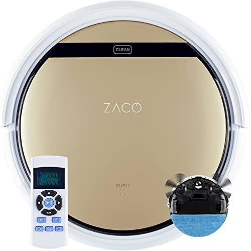 ZACO V5sPro Saugroboter mit Wischfunktion, automatischer Staubsauger Roboter, 2in1 nass Wischen bis zu 180qm oder Staubsaugen, für Hartböden, Fallschutz,...