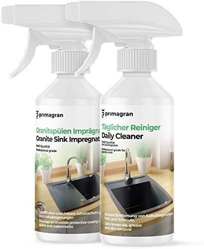Voll Pflegeset für Granitspülen 2x250ml, Pflegemittel zum Reinigung und Imprägniermittel für Küchenspülen, Professionelles Produkt für Spülen von...