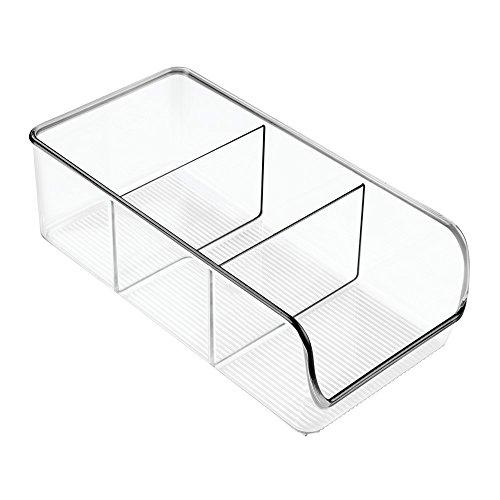 iDesign Aufbewahrungsbox mit 3 Fächern, mittelgroße Vorratsdose ohne Deckel aus Kunststoff, stapelbarer Küchenorganizer für Vorratsschrank und Kühlschrank,...