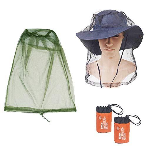 KATOOM 2Pcs Moskito Kopfnetz Outdoor Angeln Hut Kopf Moskitonetz Gesichtsschutz Grün und Schwatz Insektenschutz für Campen Laufen Klettern Radfahren Imkerei
