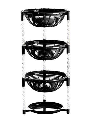 Uncluttered Designs Stapeln von Korbbehältern (3 Schichten + Teller) für Obst, Produkte, Küchenschrank, Speisekammer, Schrank, Schlafzimmer, Organisation und...