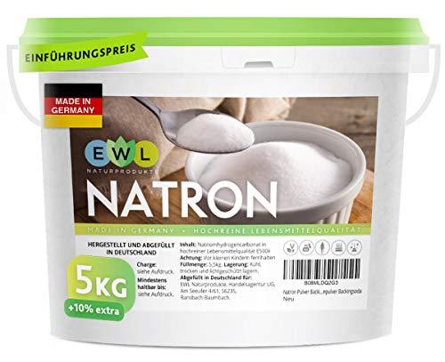 EWL Naturprodukte Natron Pulver Baking Soda 5500g extra XXL Vorteilspack Hochreine deutsche Lebensmittelqualität I Backpulver I Deutsche Herstellung u....