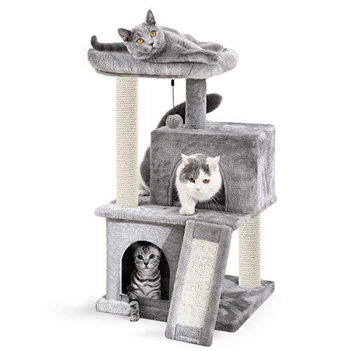 Amazon Brand – Eono Katzenbaum Kratzbaum Kratzbäume Katzenmöbel mit Sisal-Seil Plüsch Liege höhlen Spielhaus Spielzeug für Katzen Grau