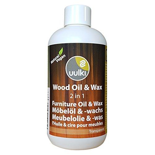 Uulki Natürliche Holzpflege Wachs & Öl für Innen Möbel aus Holz (250 ml)   Möbelöl und Möbelwachs 2-in-1   Vegan (farblos)