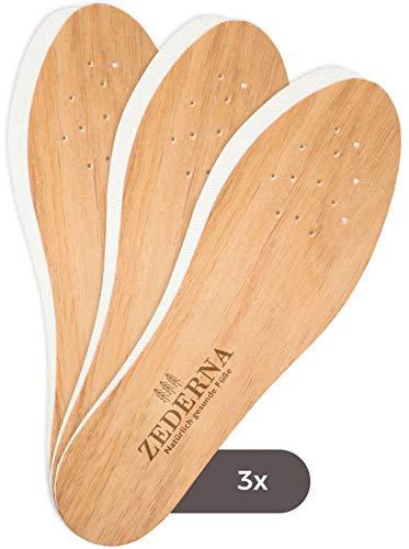 Zederna 3 Paar Einlegesohlen gegen Schweißfüße, Fußgeruch & Schuhgeruch. Zedernholz Einlagen / Schuheinlagen gegen Fußpilz. Natürliches Schuhdeo /...