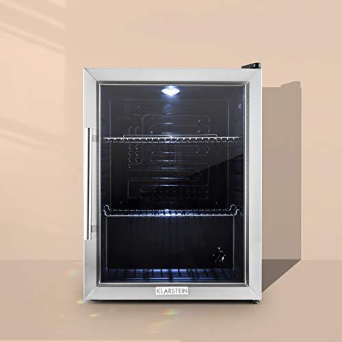 Klarstein Beersafe - Minibar, Mini-Kühlschrank, Getränkekühlschrank, leise, 42 dB, Edelstahl, Glastür, 5-stufiger Temperaturregler, 2 Einschübe, 60 Liter,...