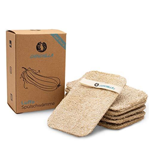 Chinchilla® Luffa Schwamm Küche | 6er Pack nachhaltige Küchenschwämme | waschbar & wiederverwendbar | Nachhaltige & vegane Spülschwämme | Naturschwamm aus...