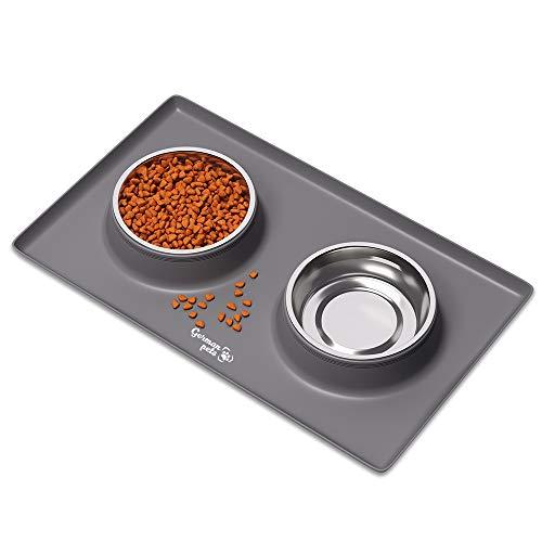 Katzenfressnapf Set mit Unterlage aus Silikon Hundenapf Katzennapf Rutschfest für Kleine Hunde und Katzen 2x 400 ml Edelstahlschüsseln Fressnapf Futternapf...