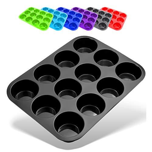 Belmalia Muffinblech aus Silikon für 12 Muffins, antihaftbeschichtet, Cupcakes, Brownies, Kuchen, Pudding, Muffinform Schwarz