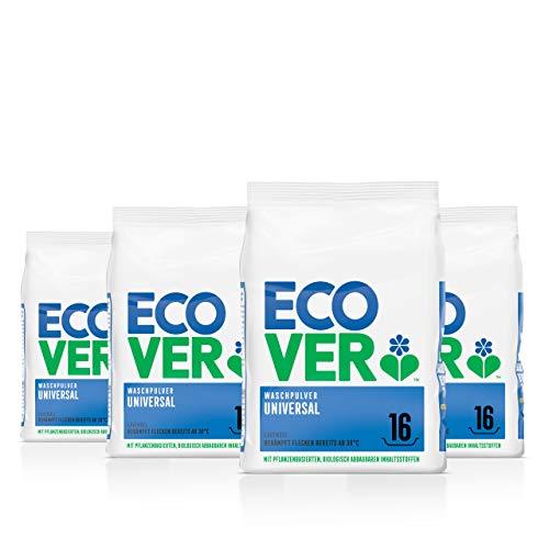 Ecover Universal Waschpulver Konzentrat Lavendel (4x 1,2 kg / 64 Waschladungen), Vollwaschmittel mit pflanzenbasierten Inhaltsstoffen, Waschmittel Pulver für...