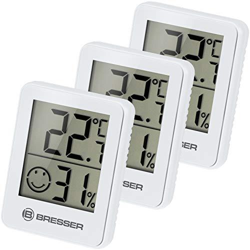 Bresser Thermometer Hygrometer Temeo Hygro Indicator 3er-Set zum Aufstellen oder zur Wandmontage mit Raumklima-Indikator, Weiss