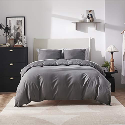 BEDSURE Bettwäsche 135x200 anthrazit Polyester- Bettbezug Set 135 x 200 cm 2 teilig mit 80x80 cm Kissenbezug für Einzelbett weich und bügelfrei