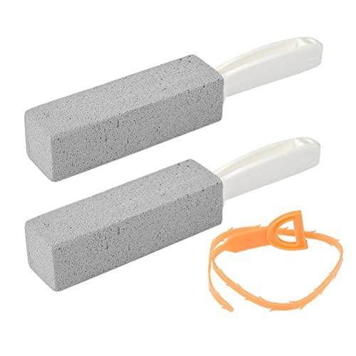 FOCCTS 2 Stück Bimsstein WC Toilette-Reinigungsstein mit Griff einer Abfluss-Schlange Reinigungsblock Deep Flecken und Remover für Küche/Bad/WC...