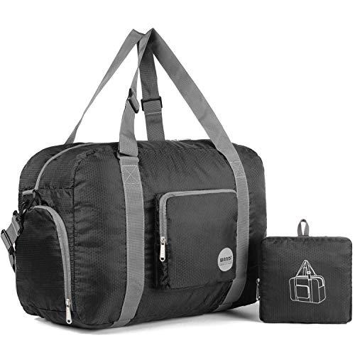 WANDF Leichter Faltbare Reise-Gepäck Handgepä (D - Schwarz)