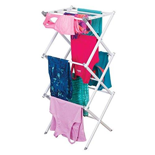 mDesign ausziehbarer Turmwäscheständer - Wäscheständer mit 3 Ebenen - platzsparender Standtrockner für Wäscheküche & Haushaltsraum - aus robustem Metall...