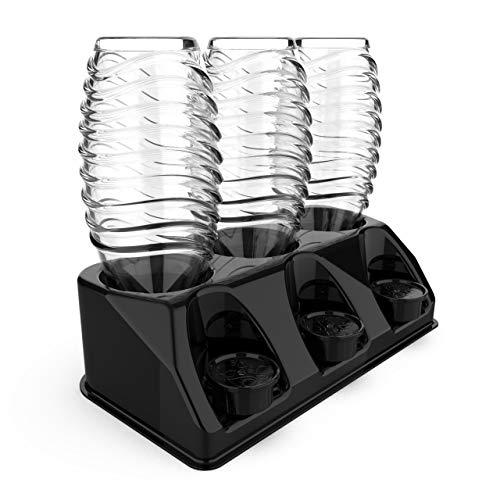 SODACLEAN Premium 3er Flaschenhalter Kunststoff Hochglanz | Abtropfhalter für Soda Stream Aarke Emil Flaschen mit Deckelhalterung | Abtropfgestell Crystal Easy...