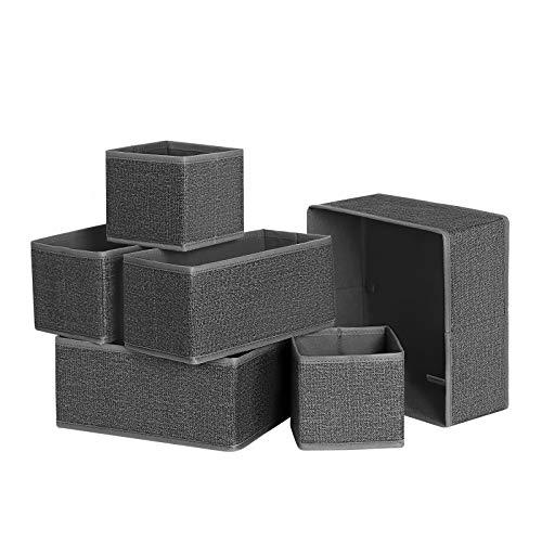 SONGMICS Aufbewahrungsbox für Schublade, 6er Set, Unterwäsche-Organizer, Schubladen-Organizer, Faltbare Stoffbox für Socken, Unterwäsche, BHS, Krawatten und...