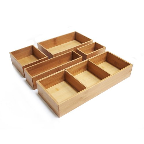 Seville Classics, Schubladenkisten aus Bambus als Schubladen-Organisierer, Beige, Natur, 15x15