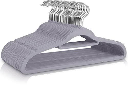 Utopia Home Premium rutschfeste Kleiderbügel aus Samt [50er-Pack] - Strapazierfähige Kleiderbügel aus Samt mit Krawattenhalter - Stark, Platzsparende...