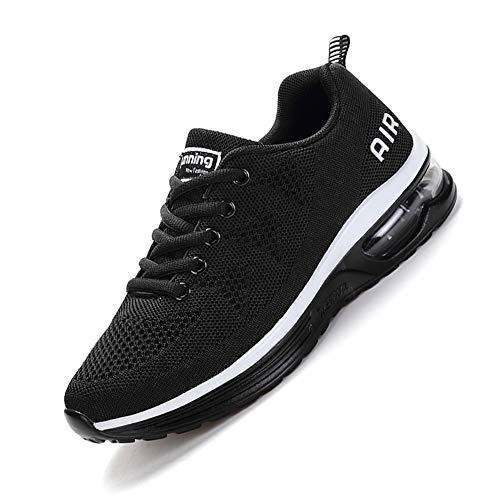 smarten Sportschuhe,Herren Damen Laufschuhe mit Luftpolster Turnschuhe Profilsohle Sneakers Air Leichte Schuhe Black White 40