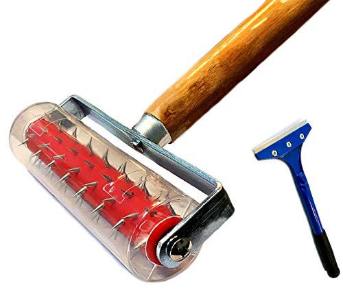 Stachelwalze 150 x 500 mm, Stachelroller, Perforierwalze, Nagelroller, Igelwalze, Tapetenigel zum Perforieren von Tapeten (Stachelwalze + Farbschaber)