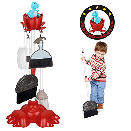 DX DA XIN Putzset für Kinder - Dinosaurier Besen Spielzeug Set mit Staubsauger Kinderstaubsauger Reinigungswagen mit Viel Zubehör Reinigungsspielzeug (7...