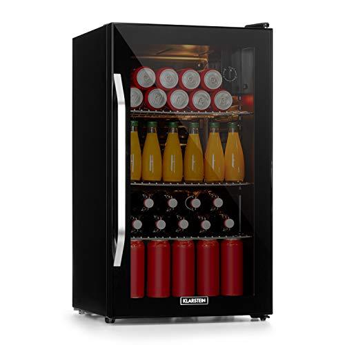 Klarstein Beersafe Onyx - Getränkekühlschrank, 5 Kühlstufen, 42 dB, flexible Metallböden, LED-Licht, Kühlschrank für Flaschen, Glastür mit schwarzem...