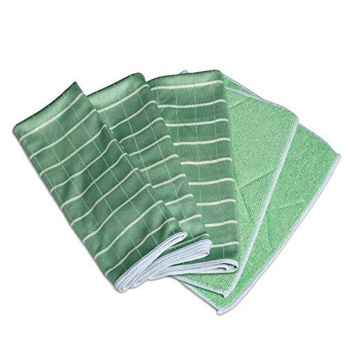 Greenshop24 Geschirrtücher und Reinigungstücher Bambus antibakteriell, 5 Tücher im Set, grün, für Küche und Haushalt, zum Reinigen von Oberflächen,...