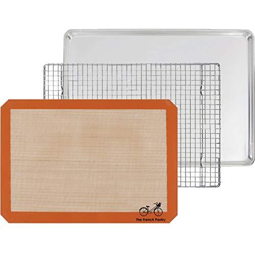 3-teiliges Backgeschenkset - Aluminium Backblech, SIL-MAT Silikon Backmatte & Edelstahl-Rost zum Auskühlen