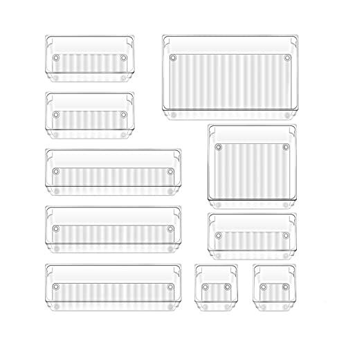 Accevo Schubladen Ordnungssystem, 10 Stücke Organizer Schublade, Kombinierbare und stapelbare Organizer, 5 Größen Transparente Organizer für Küche, Büro,...