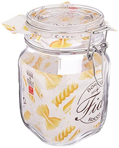 Bormioli Rocco Drahtbügelglas 1 Liter 6er-Set Fido, Glas, Weiß, 6 x 1000 ml