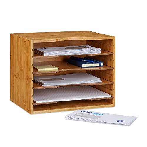 Relaxdays Briefablage aus Bambus HBT: ca. 26 x 33 x 24,5 cm Ablagesystem für den Schreibtisch Dokumentenablage mit 4 variablen Einlegeböden Papierablage aus...