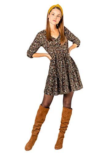 Sublevel Damen Kleid mit Blumen-Muster Langarm Herbst Frühling Green M/L