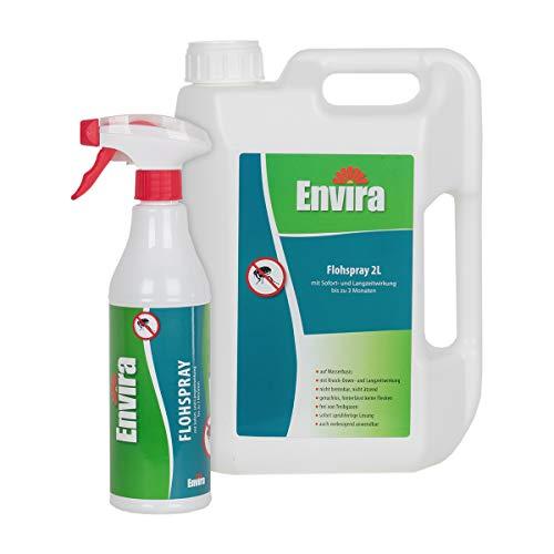 Envira Floh-Spray - Anti-Floh-Mittel Mit Langzeitwirkung - Geruchlos & Auf Wasserbasis - 500 ml + 2 Liter