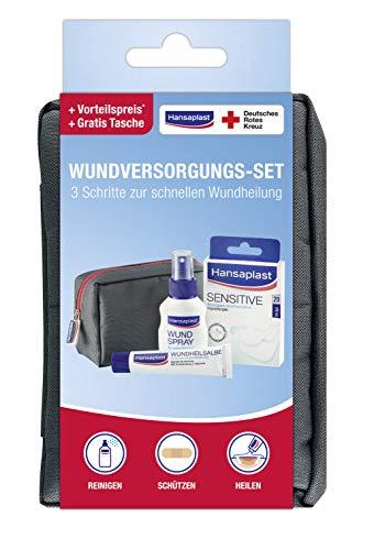 Hansaplast Routine Set, praktisches Set für zu Hause oder unterwegs, mit Wundspray, 20er-Set Sensitive Wundpflaster und Wundheilsalbe für eine schnelle...
