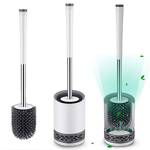 FYLINA Toilettenbürste, Silikon Klobürste mit schnell trocken Behälter und Edelstahl Griff, WC Bürste mit Abnehmbar Wasserspeicherschublade, Stehen &...