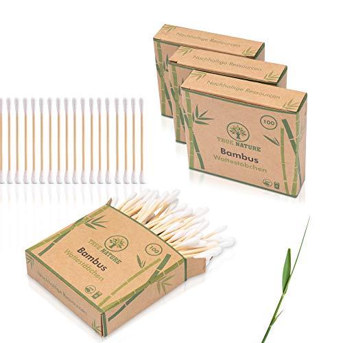 DERMATEST: SEHR GUT - TRUE NATURE® [400 Stück] Bambus Wattestäbchen ohne Plastik - Inkl. E-Book - 100% biologisch abbaubare Alternative (400)