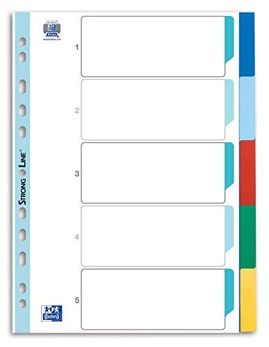Oxford 400013909 Kunststoff-Register Strong-Line blanko 5-teilig für DIN A4 Plastikregister mit beschriftbarem Deckblatt blau rot grün gelb Ringbuch Ordner...
