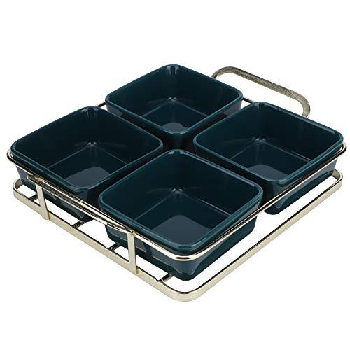 AMONIDA Dessertschale, Obsttablett, Geschirrspüler, Mikrowellen sicher, leicht zu reinigen Keramikgrün für Home Food Sortimente(Four Grid Green)