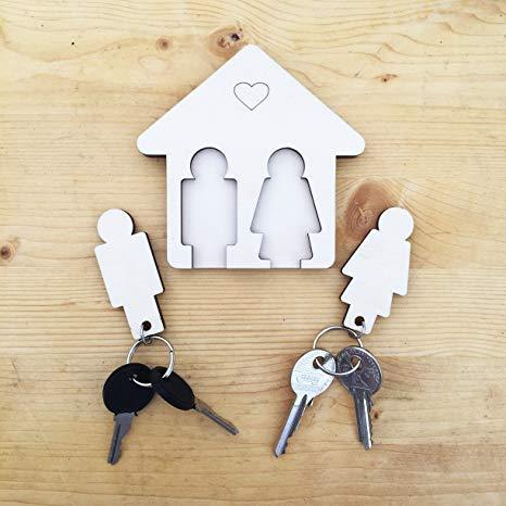 Laserò Schlüsselring | Schlüsselanhänger mit Wandhalterung | Schlüsselhalter aus Holz | Für Haus und Büro, das perfekte Wohnaccessoire Paare | Für Sie...