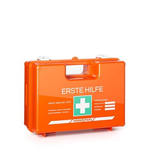 Erste Hilfe Kasten mit Inhalt nach DIN 13157 I Inkl. praktischer Wandhalterung und Plombe I Erste Hilfe Koffer für Betriebe, Einrichtungen & Zuhause