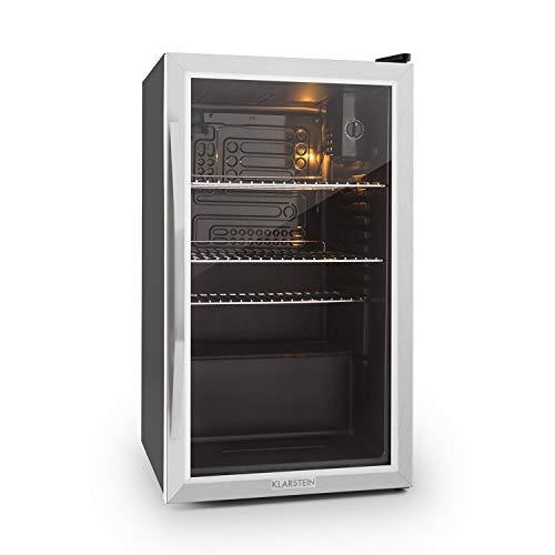 Klarstein Beersafe - Minibar, Mini-Kühlschrank, Getränkekühlschrank, leise, 42 dB, Edelstahl, Glastür, 5-stufiger Temperaturregler, 4 Einschübe, 85 Liter,...