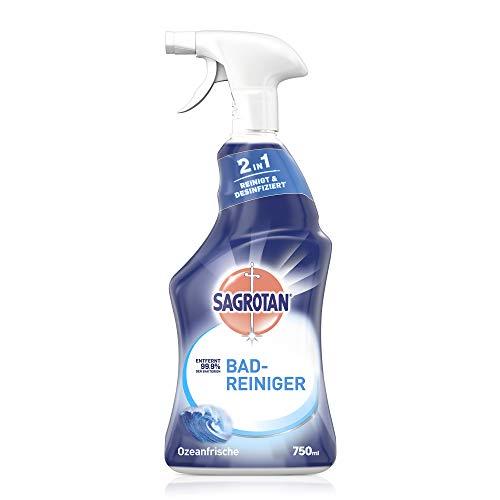 Sagrotan Bad-Reiniger Ozeanfrische – 2in1 Desinfektionsreiniger mit Antischmutzfilm für zuverlässige Hygiene im Badezimmer – 1 x 750 ml Sprühflasche