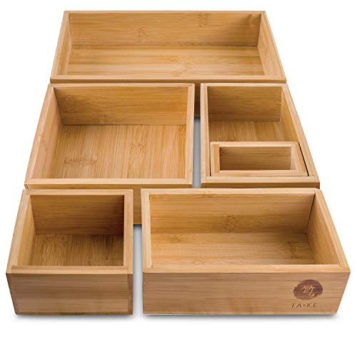 TAKE® 6-teiliges Schubladen Ordnungssystem aus 100% Natur Bambus, variables Ordnungssystem für Schubladen jeder Größe, ideal als Schminktisch Organizer oder...
