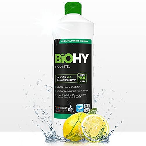 BiOHY Spülmittel (1l Flasche)   Frei von schädlichen Chemikalien & biologisch abbaubar   Glanz- & Fettlöseformel   Für Gastronomie, Industrie und Haushalt...